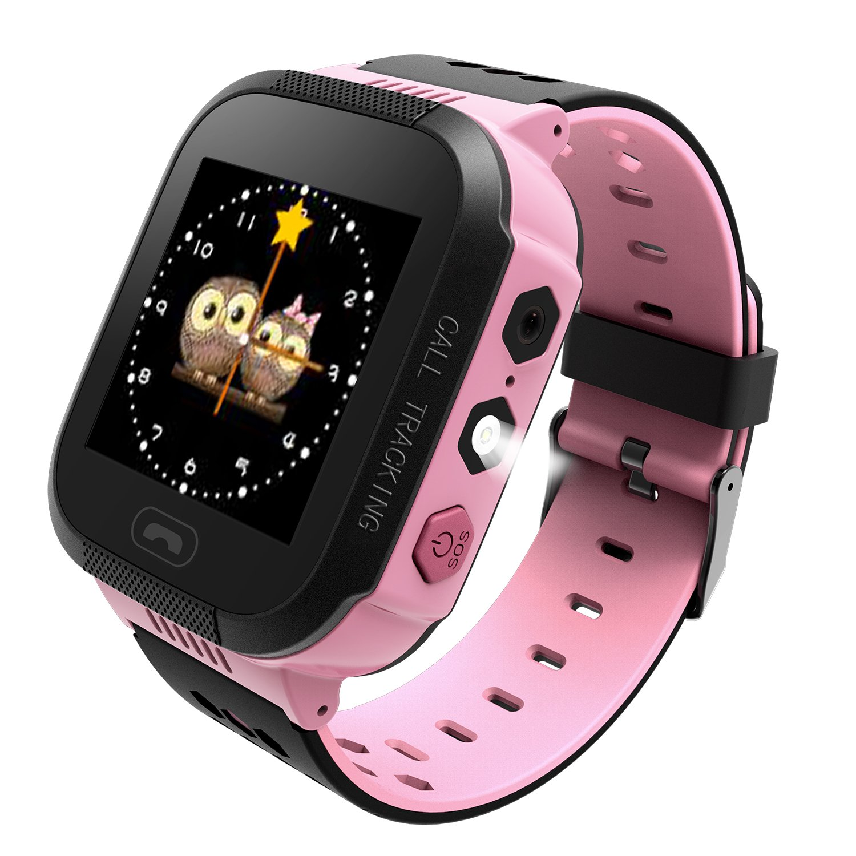 B.B.PAW  Kids Smart Watch, Phone Watch Location Tracker SOS Timer Alarm Clock Camera Pedometer 1.44'' Touchscreen Wristband Watch-Pink