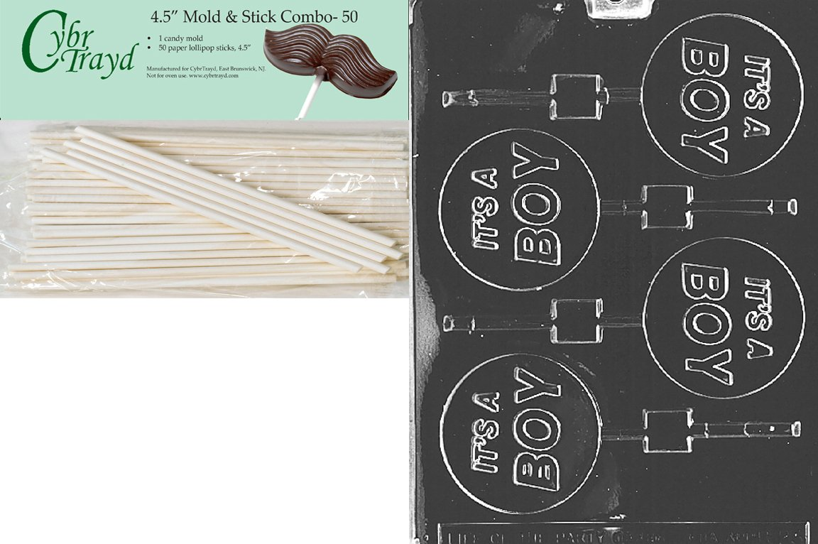 Cybrtrayd 45St50-B023 It's a Boy Lolly Baby Chocolate Candy Mold with 50-Pack 4.5-Inch Lollipop Sticks
