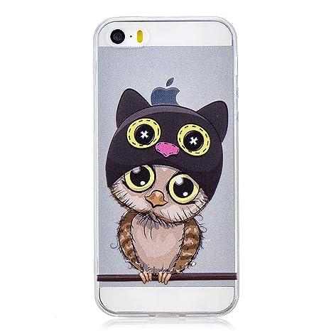 Funluna Funda iPhone SE, Carcasa iPhone 5S / 5, Búho Diseño Cubierta de Silicona Gel Case Ultra Delgado TPU Goma Flexible Cover Transparent Carcasa ...