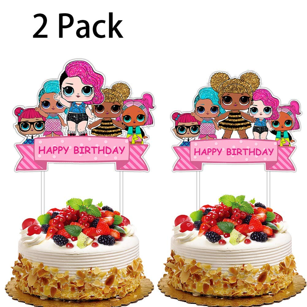 2 Pcs Lol Cake Topper Lol Happy Birthday Party Supplies Girls Topper Pink Cake Decorations For Bday Theme Party Amazon In Grocery Gourmet Foods