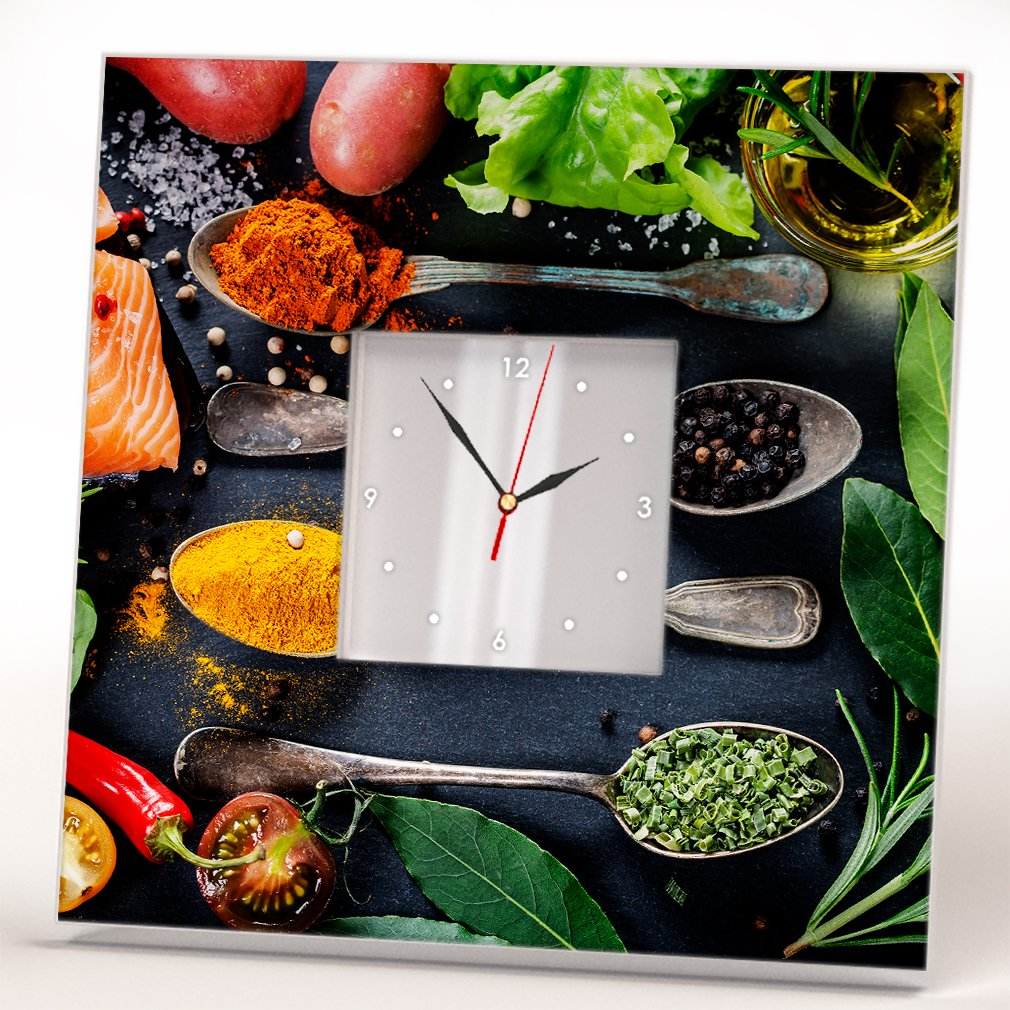 Variety Spices Cooking Wall Clock Framed Mirror Printed Food Art Kitchen Cafe Design Home Decor Gift