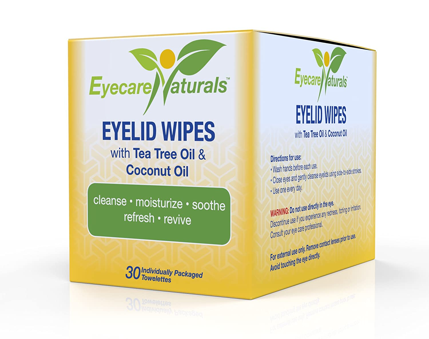 Eyecare Naturals Tea Tree Oil Eyelid Wipes With Coconut Oil - Dry Eyelid Wipes No Rinse Natural Essential Oil Cleansing Eye Wipes - Daily Eyelid Makeup Remover - Box of 30 Individually Wrapped Wipes