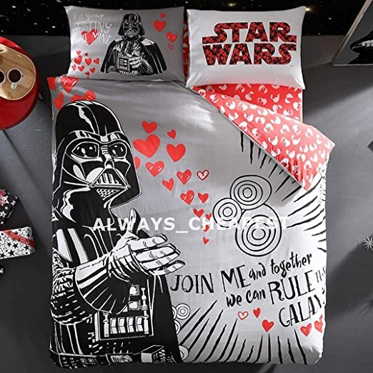 QUEEN SIZE BEDDING SET STAR WARS VALENTINE/'S DAY DUVET QUILT COVER SET DOUBLE