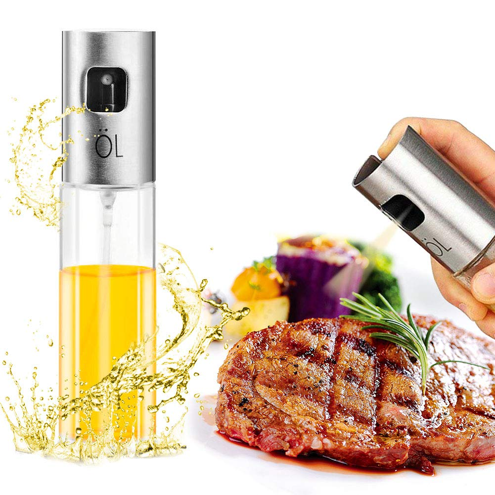Dispenser olio spruzzatore Premium acciaio inox 304 Grigliatura bottiglia di vetro di olio d'oliva 100ml per la cottura / insalata / cottura del pane / barbecue / cucina HZQ