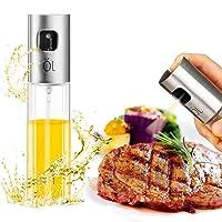 Oil Sprayer Dispenser Premium 304 Stainless Steel Grilling Olive Oil Glass Bottle 100ml for Cooking/Salad /Bread Baking/BBQ/ Kitchen …