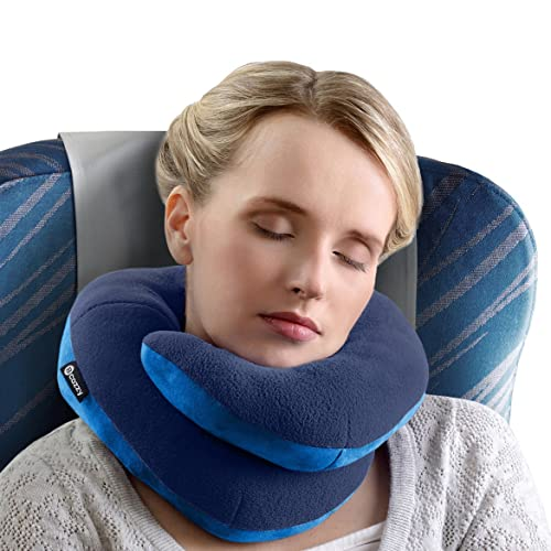 BCOZZY Chin Supporting Travel Pillow - Supports the Head, Neck and Chin in in Any Sitting Position. A Patented Product. Adult Size, NAVY