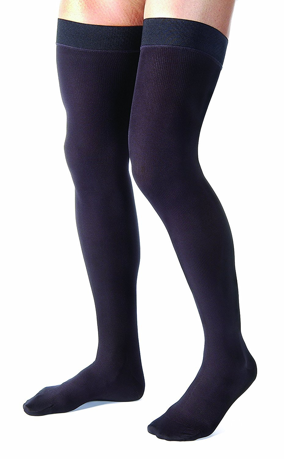 Men's 15-20 mmHg Moderate Support Closed Toe Thigh High Support Sock Size: Small, Color Black