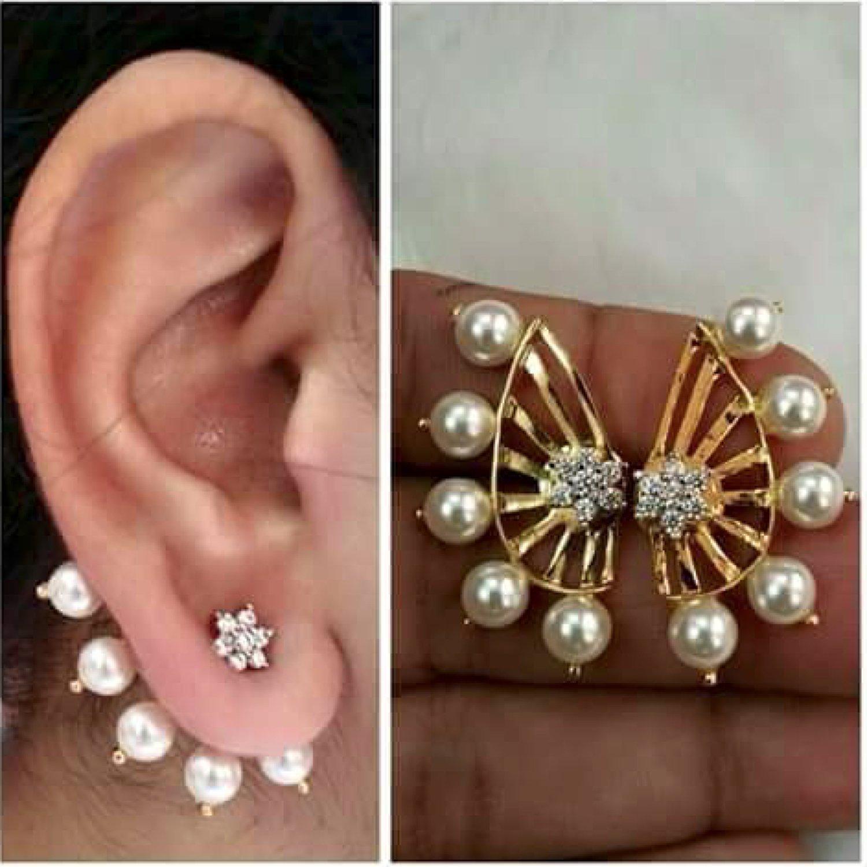 Shining Diva Gold-Plated Ear Cuffs Earrings For Women/Girls ,Combo ...