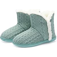 TUOBUQU Women Warm Bootie Slippers Fluffy Plush Indoor Outdoor Winter Booty Slippers