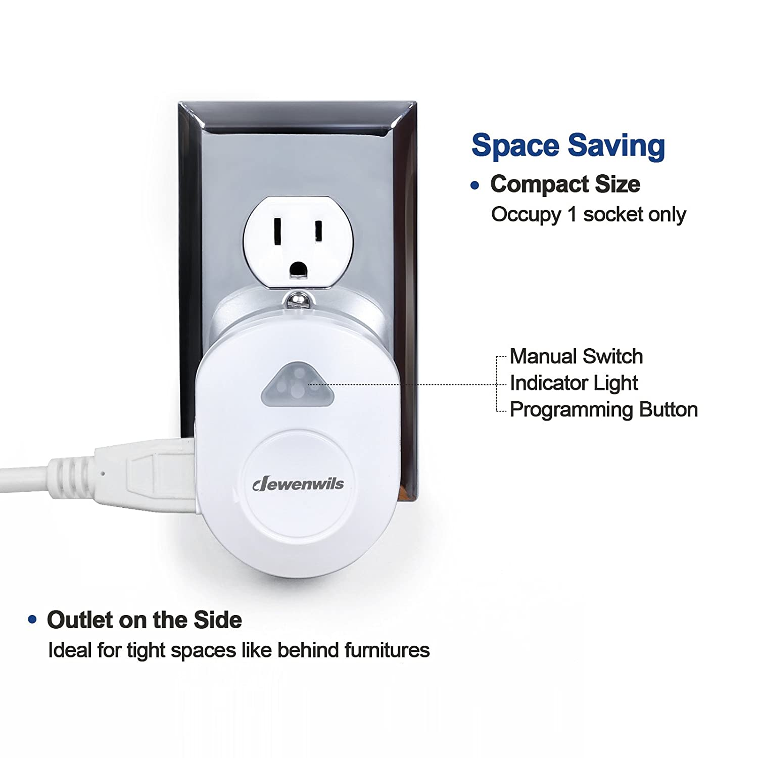 Dewenwils Wireless Remote Control Electrical Outlet Switch, RF ...