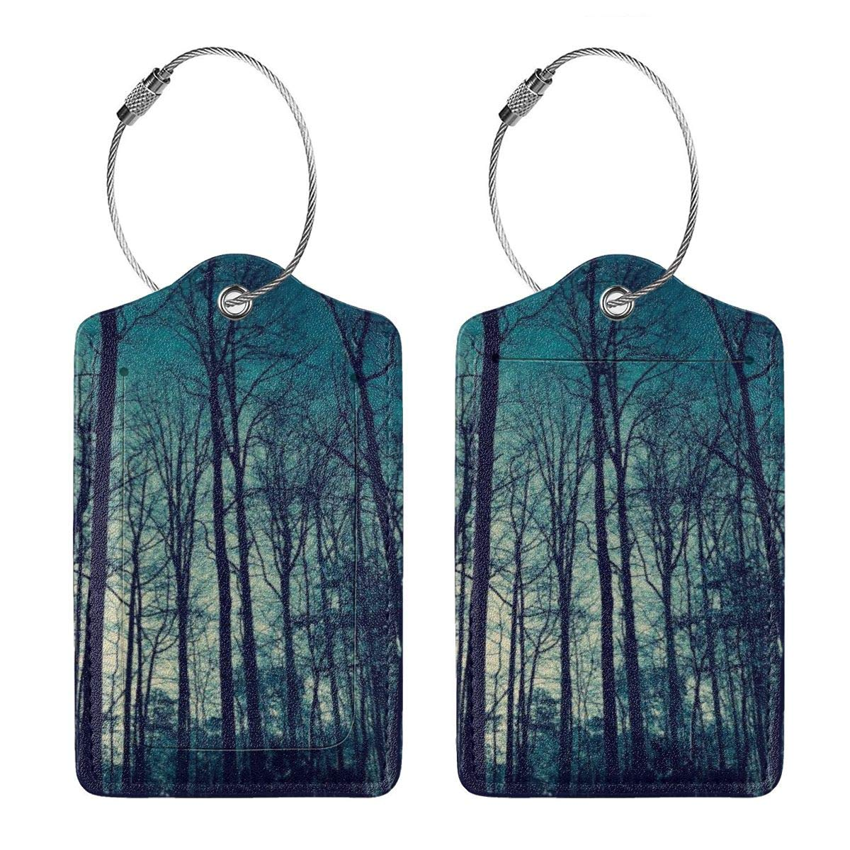 Blue Sky High Trees Travel Luggage Tags With Full Privacy Cover Leather Case And Stainless Steel Loop