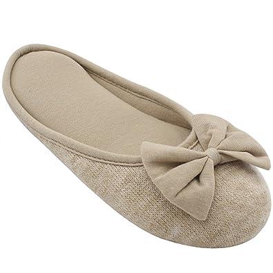 amazon com women s cozy cashmere cotton closed toe house slippers