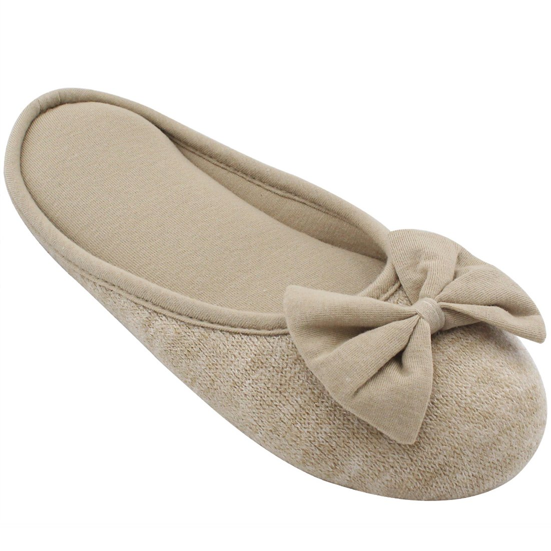 HomeTop Women's Cozy Cashmere Cotton Closed Toe House Slippers with Cute Bow Accent (Large / 9-10 B(M) US, Beige)