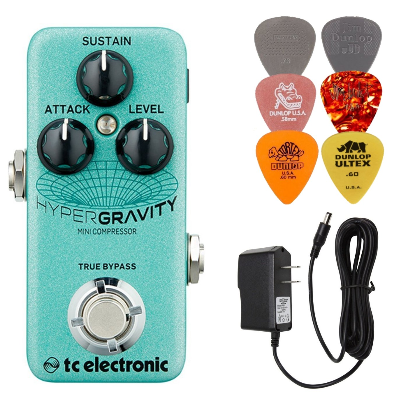 TC Electronic Hypergravity Mini Compressor Effects Pedal Bundle with 9V Power Supply and 6 Assorted Dunlop Picks by TC