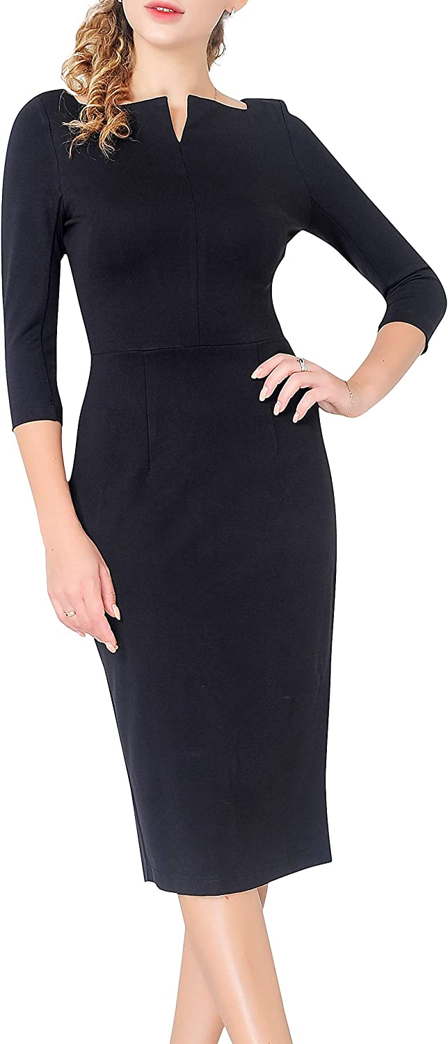 Marycrafts Women's Work Office Business Square Neck Sheath Midi Dress