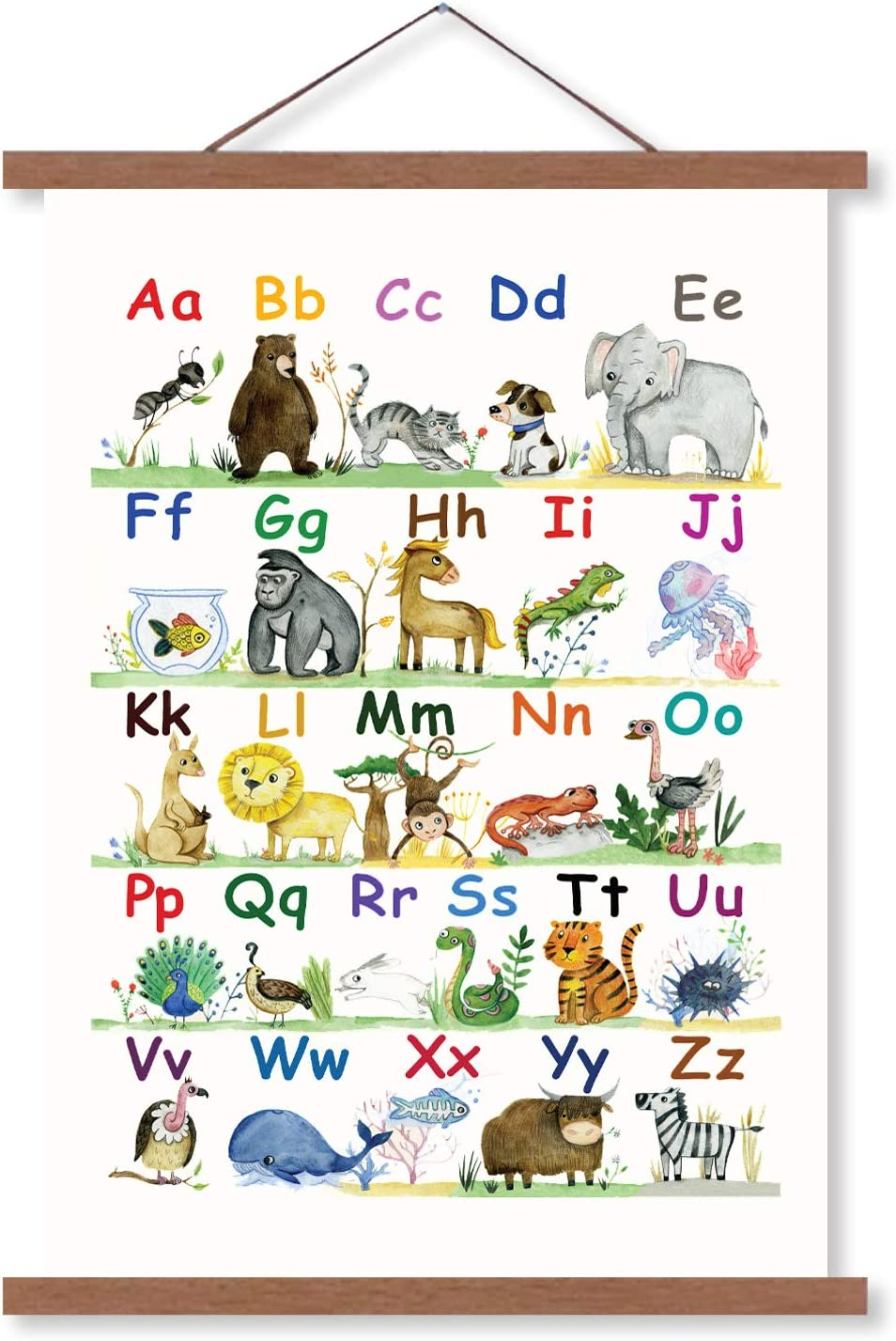 Alphabet Poster for Classroom Decor | ABC Poster for Toddlers Wall Playroom & Nursery Decor | Canvas Wall Art - 15x21 | Kids Alphabet Chart Wall Hanging for Boys & Girls Room Decor