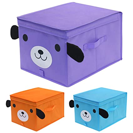 homyfort Niños Juguetes Caja de Tela para Almacenaje con Motivos Colorido, Set de 3 Gran