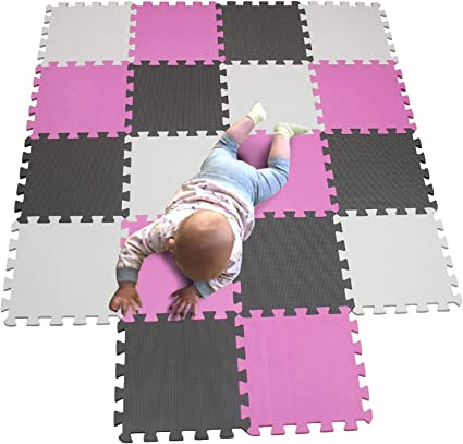 MQIAOHAM Children Puzzle mat Play mat Squares Play mat Tiles Baby mats for Floor Puzzle mat Soft Play mats Girl playmat Carpet Interlocking Foam Floor mats for Baby White Pink Grey 101103112