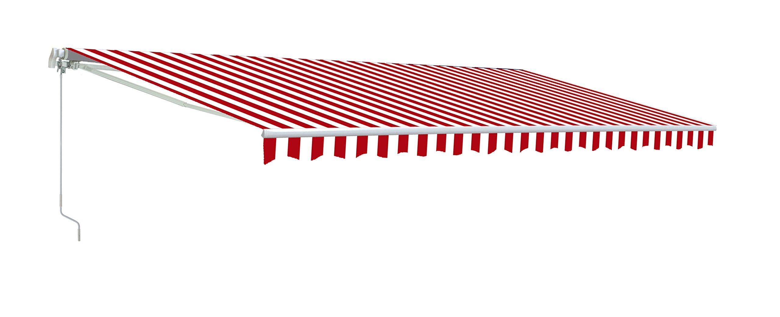 ALEKO AW10X8RWSTR05 Patio Awning, 10 by 8-Feet/3m by 2.5m, Red and White Stripes