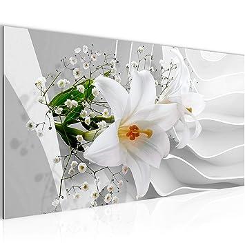 Bilder Blumen Lilie 3D Wandbild Vlies - Leinwand Bild XXL Format Wandbilder  Wohnzimmer Wohnung Deko Kunstdrucke Weiß 1 Teilig - MADE IN GERMANY - ...