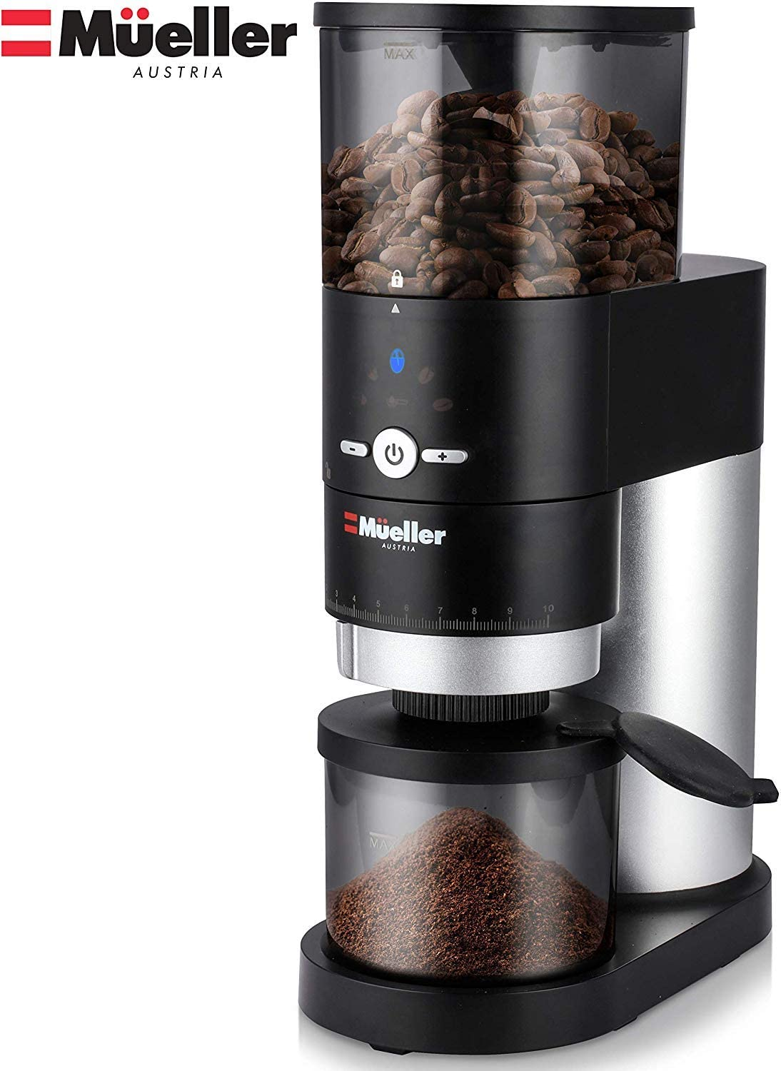Mueller Ultra-Grind Conical Burr Grinder Professional Series, Innovative Detachable PowderBlock Grinding Chamber for Easy Cleaning and 40mm Hardened Gears for Long Life