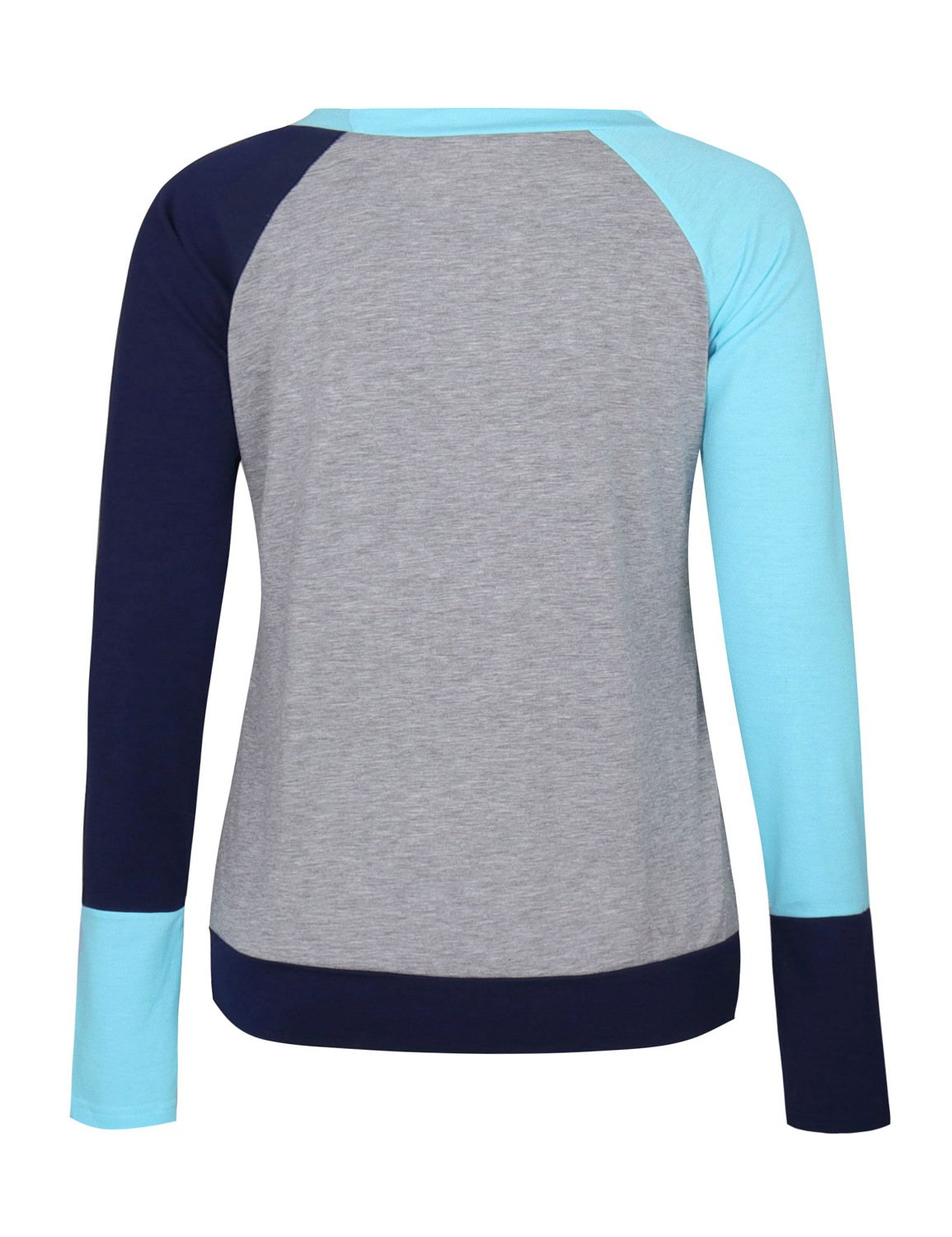 Naier Women T Shirt Top Long Sleeve Color Splicing For Leggings Jeans (L, Light Blue) by Naier (Image #2)