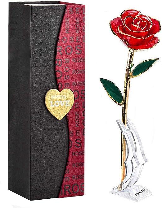 24k Dipped Gold Red Rose Long Trim Stem Anniversary Gift Box Valentine Romantic
