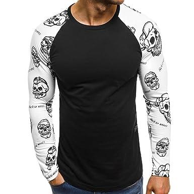070a33ebd70 Ulanda-EU Mens T Shirts Mens Long Sleeve Skull Printed Raglan Tops Casual  Designer Baseball