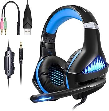 ShinePick Cascos Gaming PS4,Auriculares PS4 con Micrófono Luz LED Auriculares con Cable Reducción de Ruido Estéreo Auricular para PS4/Xbox One (Azul): Amazon.es: Electrónica