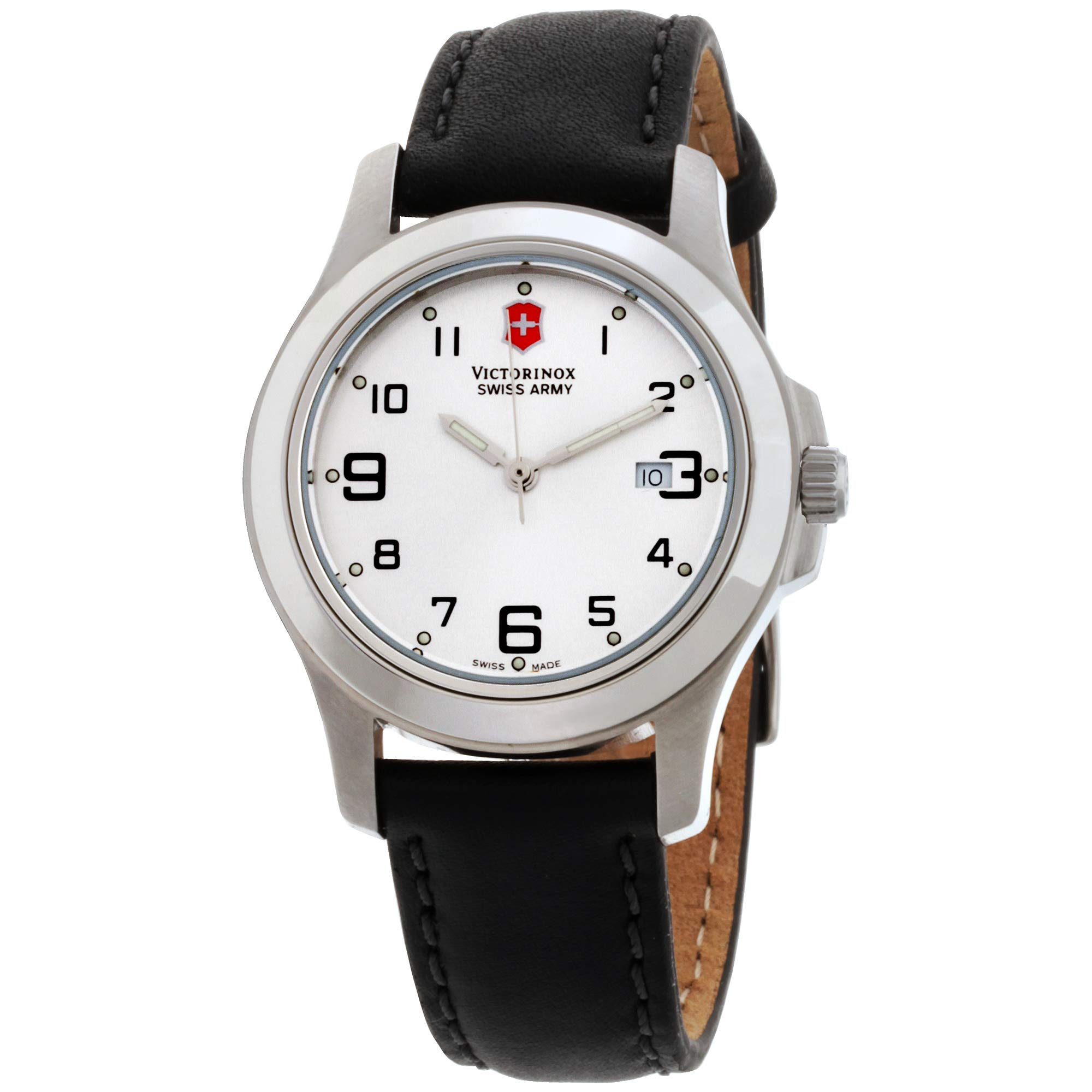 Victorinox Swiss Army 241388, Womens Watch Garrison, Silver Dial,Black Leather Strap,Mothers Day Gift