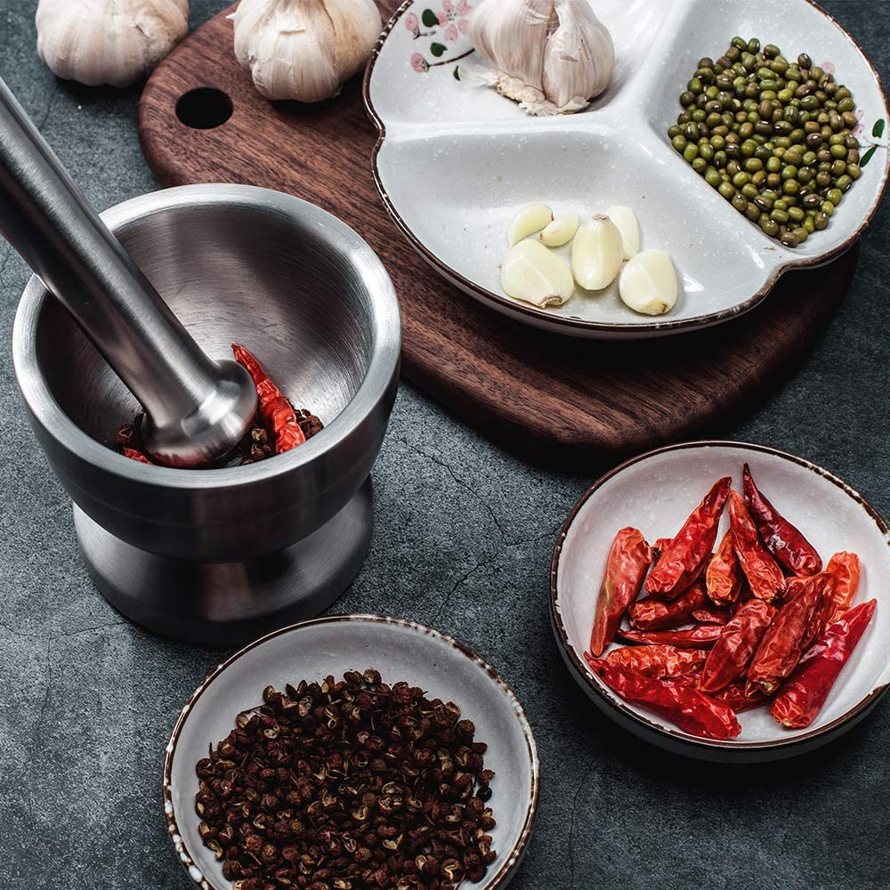 Tera 18/8 Stainless Steel Mortar and Pestle with Brush, Pill Crusher, Spice Grinder, Herb Bowl, Pesto Powder: Kitchen & Dining