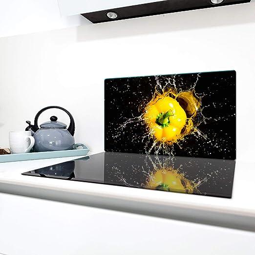 QTA - Cubiertas para vitrocerámica de 90 x 52 cm, cubierta de cristal antisalpicaduras, placa de vidrio para cocina, cubierta de vitrocerámica, color ...