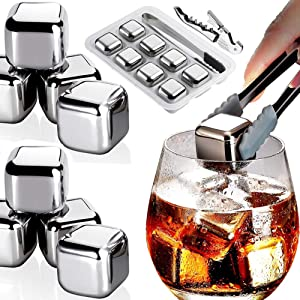 BeRicham 8 Packs Fast-cooling 304 Stainless Steel Ice Cubes Whiskey Stones Whiskey Rocks With Nonslip Ice Tong&Wine Opener&Freezer Storage Tray Great for Whiskey,Wine,Beer,Juice or Soda