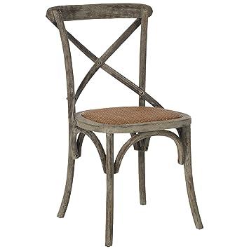 Safavieh American Home Collection Franklin 18u0027u0027H X Back Farmhouse Chair,  Distressed Colonial Walnut
