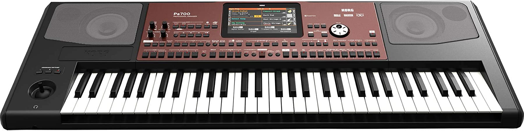 Korg Pa700 Teclado profesional de 61 teclas, sensible a la velocidad, paquete con soporte para teclado KPK6520 en el escenario con pedal de sostenido, ...
