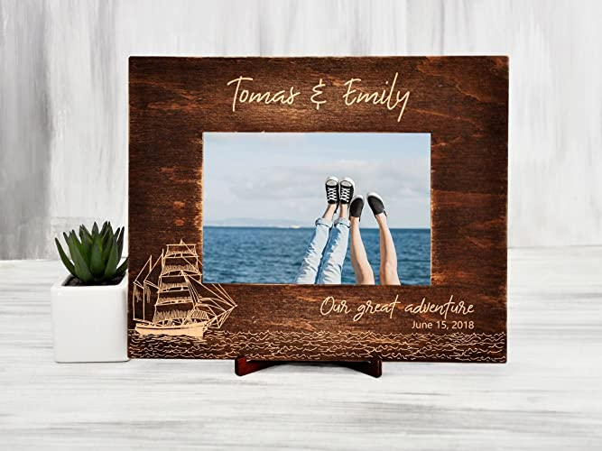 personalized picture frame wood photo frame destination wedding gift for couple christmas gift sailboat sea traveler