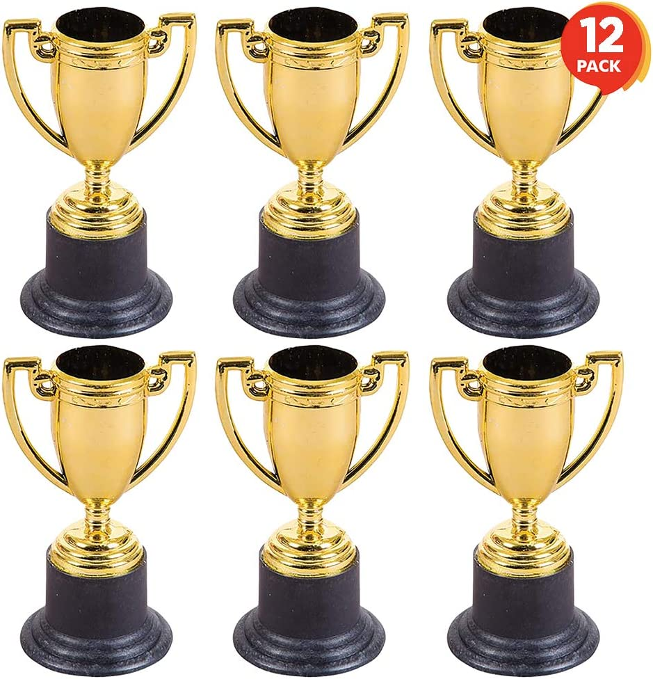 ArtCreativity Gold Plastic Trophies for Kids - Pack of 12 Golden Colored Trophy Set - 4 Inch Award Cups for Football, Soccer, Baseball, Carnival Prize, Party Favors for Boys and Girls