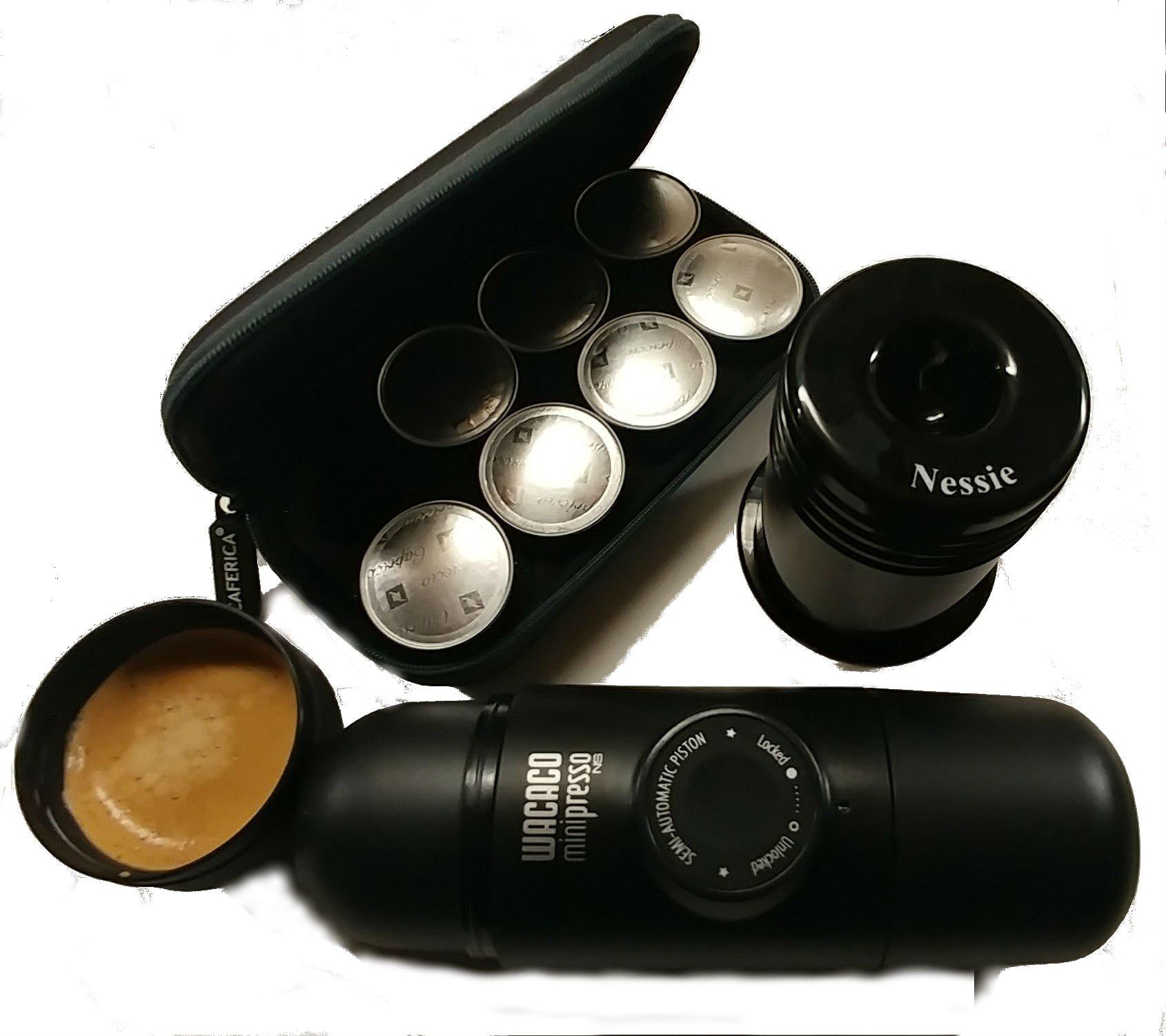 Minipresso NS portable espresso with capsule case and capsule crusher by Portable Espresso