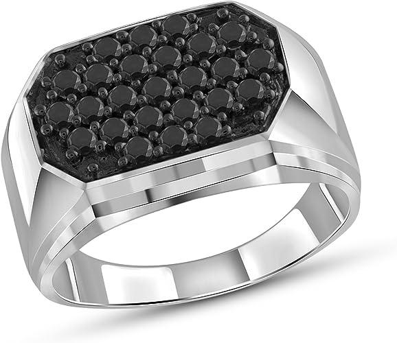 Black Diamonds Sterling Silver Single Stone Mens Ring Jewelexcess 1.00 Carat T.W
