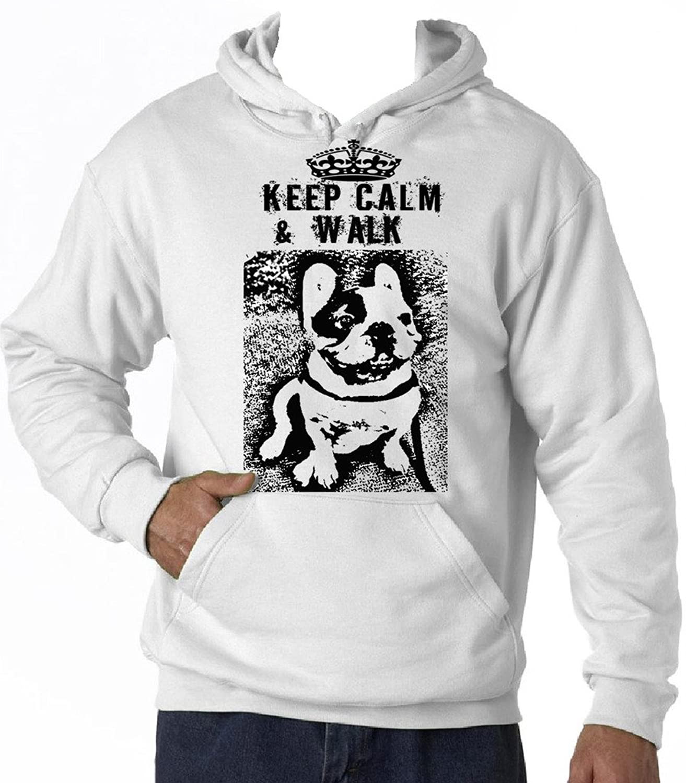 Teesquare1st Men's FRENCH BULLDOG KEEP CALM & WALK PB 26 White Hoodie T-Shirt