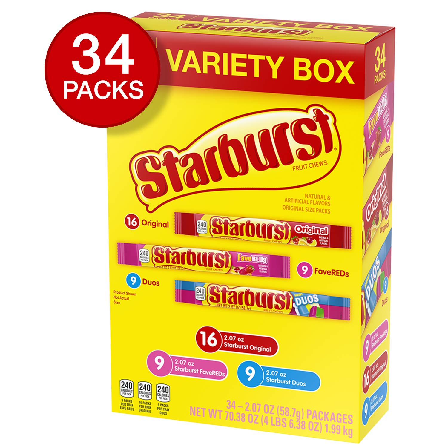 STARBURST Fruit Chews 3 Flavor Variety Pack Original, FaveREDS & Duos Flavors 70.38-Ounce (Pack of 36) by Starburst