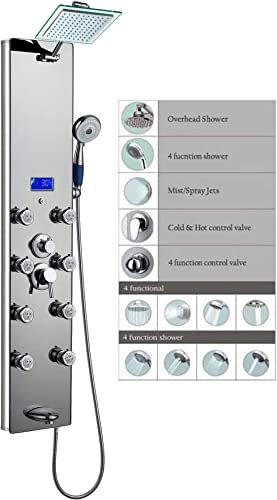 Blue Ocean 52 Aluminum SPA392M Shower Panel Tower with Rainfall Shower Head, 8 Multi-functional Nozzles