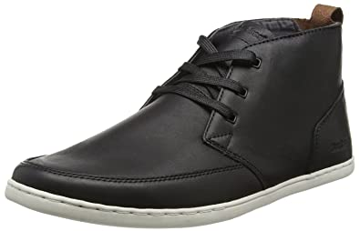 Symmons SH Black White Mens Leather Mid Trainers Boots-7 Boxfresh