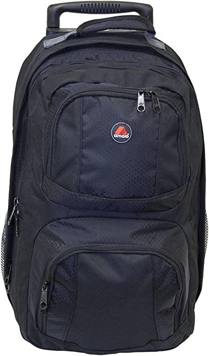 7622eddcb505 Amaro MERIT Rolling Wheel Backpack (52185 - 3-color variety) (BLACK)