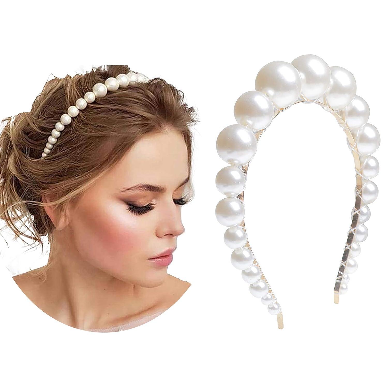Women Charm Pearl Hair Hoop Hair Band Elegant Headband Headdress Wedding Jewelry