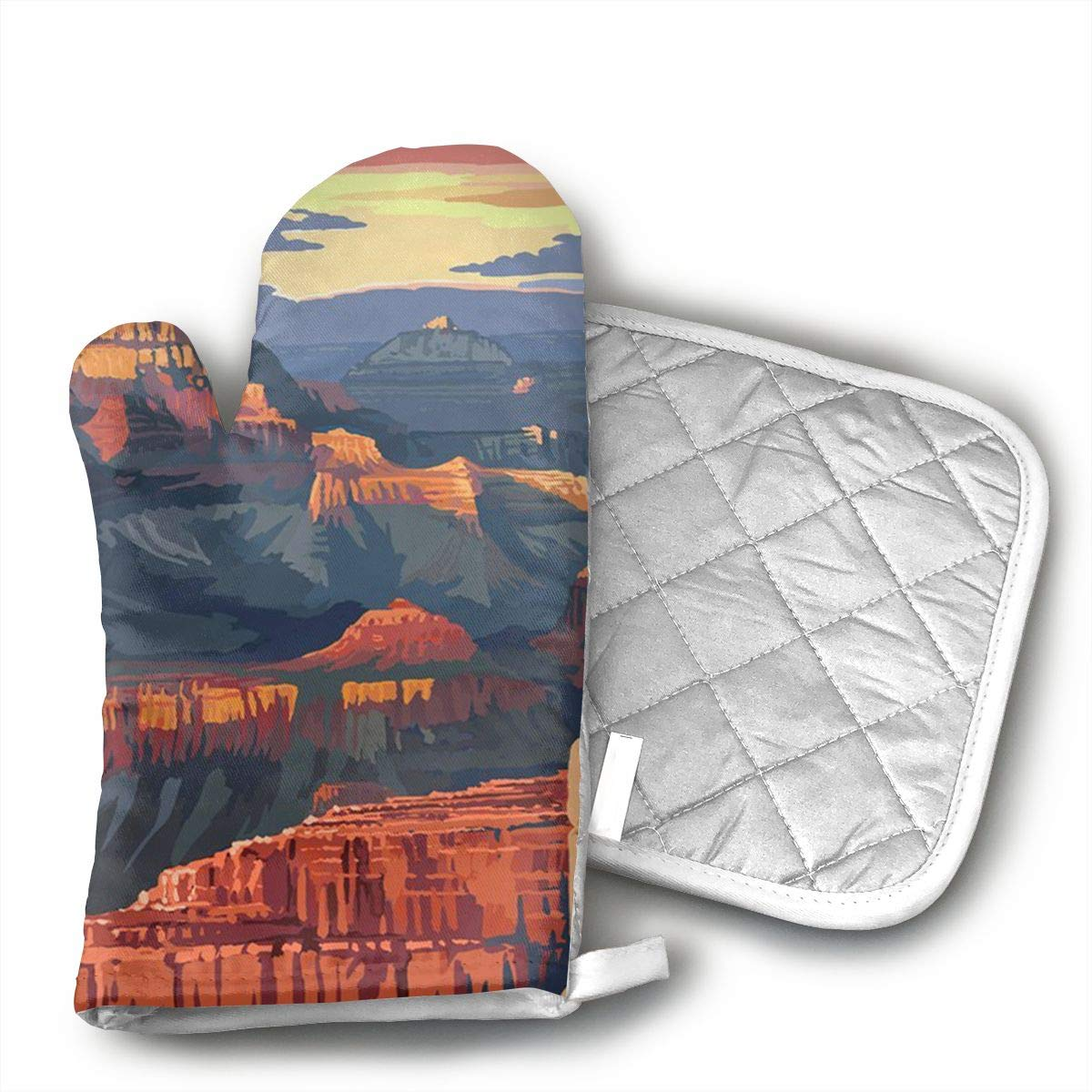 GUYDHL Unisex Oven Mitt and Pot Holder for Grand Canyon National Park - Mather Point - 2 Pair