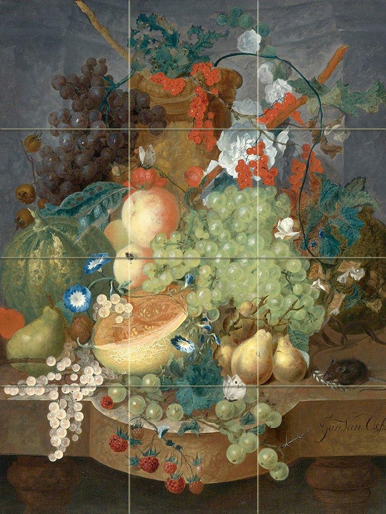 Fruit still life mouse j van os tile mural wall for Ceramic mural paintings