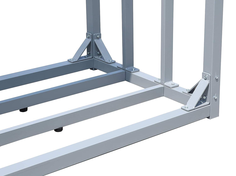QUICK STAR Aluminium Kaminholzregal 130 x 70 x 185 cm Garten Kaminholzunterstand 1,6 m/³ Kaminholzlager Stapelhilfe Aussen