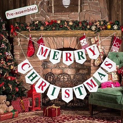 Amazon Com Merry Christmas Banner Pre Assembled Felt Fabric