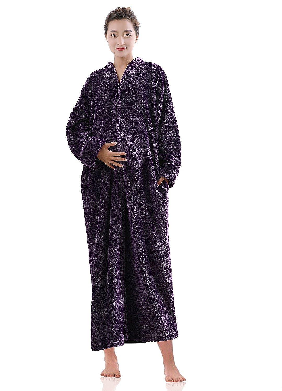 Artfasion Womens Fleece Robe Plush Long Zip-Front Bathrobe Pockets AR-RR1708